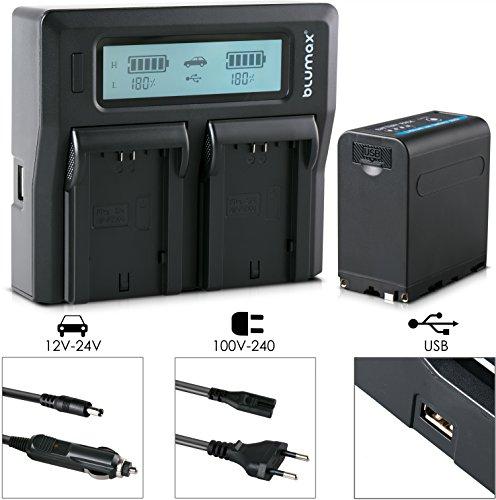 Blumax Akku für Sony NP-F980 / F970 / F750 / F550 - 10050mAh mit 5V USB Ausgang und DC 8,4V Ein & Ausgang + Doppelladegerät Dual Charger || KFZ 2 Akkus gleichzeitig Laden
