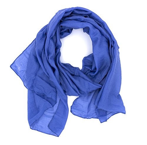 DOLCE ABBRACCIO WILD CAT Damen Schal Halstuch Tuch aus Chiffon für Frühling Sommer Ganzjährig (Blue Jeans) -