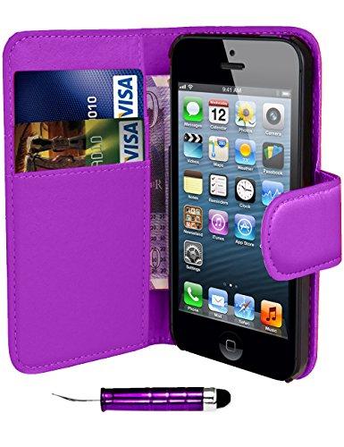 Apple iPhone 6/6G 11,9cm–QUALITÉ Premium Étui portefeuille à rabat en cuir PU avec film protecteur d'écran chiffon en microfibre Stylet + Écran LCD, Imitation cuir,  - Printed Blue Pink Butterfly, Purple Side Wallet
