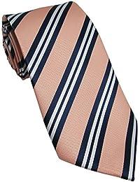 Peach Tie with Navy & White Stripes