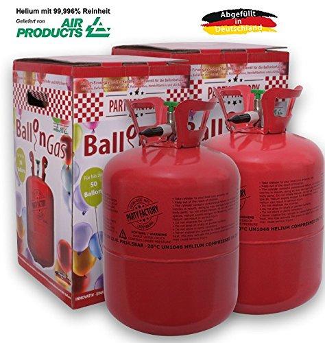 Party Factory Ballongas Helium für 100 Luftballons XXL Set inkl. 100 Latexballons + 100m Ballonband 99,996{1947802f39fe8a031c14696e84f752e0e3666a2c728e8ceea38c38377f3b3099} Reines Helium