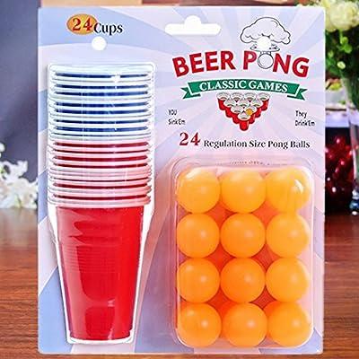 JZK Ensemble de bière pong, 24 balles de ping-pong + 12 tasses en plastique rouge + 12 tasses en plastique bleues, kit de jeu drôle de boisson pour des fêtes Noël nouvel an anniversaire barbecue vacances d'été