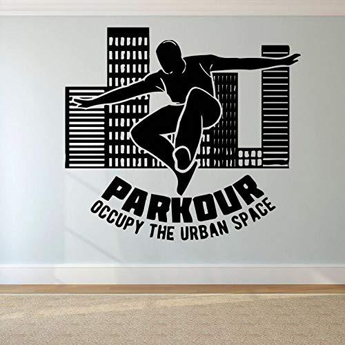 zqyjhkou Parkour Logo Wandaufkleber Free Running Wandtattoo Tracers Jump Sports Wandposter Teen Boys Geschenk Extreme Sport Wandbild Ay1630 63x57cm