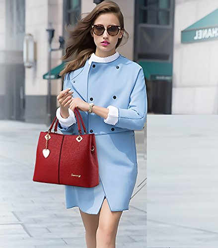 Tisdain Nuovo modello Femminile Borsa a mano PU superficie morbida Borsa messenger Moda Stile Casual piazza Borsa da donna Portafoglio vino rosso