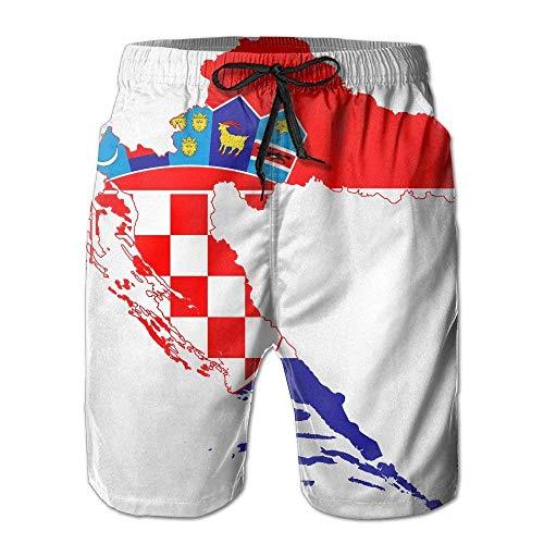 Jhonangel Kroatien Flagge Karte Herren Shorts Badehose Strand Shorts zum Surfen Schwimmen M
