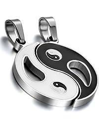 Cupimatch 2pcs acero inoxidable Yin Yang Colgante Puzzle Matching collar de pareja de San Valentín Regalo de Navidad para hombres mujeres con 45cm y 55cm cadena