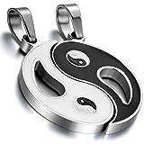 cupimatch 2Edelstahl Yin Yang Anhänger Puzzle Passende Paar Halskette Valentine Weihnachten Geschenk für Männer Frauen Silber Schwarz mit 45,7cm & 55,9cm Kette