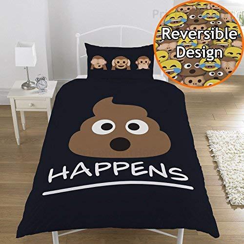 Parure de lit réversible Simple/double Shit Happens, noir, Housse de couette 1 personne