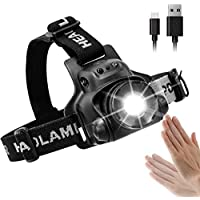 Head Torch Rechargeable Waterproof , iSolem Led Headlamp USB, 90 Degree Angle Adjustable Led Headlight, 3 Modes Light Weight for Camping,Running,Hiking,Cycling Outdoors