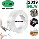 GADGETGEAR Reusable and Washable Double Sided Adhesive Silicon Tape with Multi-Functional Anti-Slip Double Sided Sticky Strips,Universal Anti-Slip Gel Pads Sticky Tape,Gel Tape Roll Wall Stickers