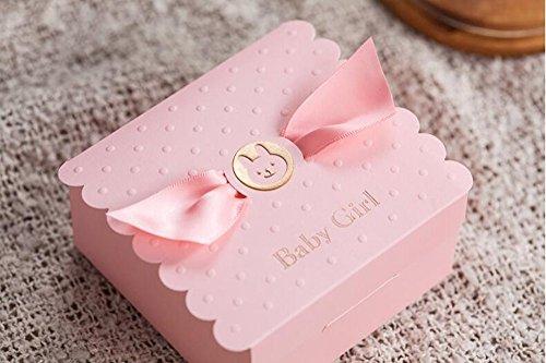 VStoy Taufe-reizende rosa Partei-Einladungen für Mädchen-Baby-Dusche mit niedlichem Baby-Auto Freie rosa Hochzeits-Bevorzugungen Süßigkeit-Kasten-Geschenk-Kasten 20 Stücke