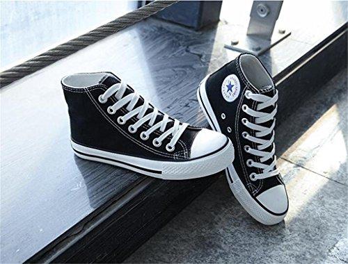 ALUK- Version coréenne de la haute Aide Chaussures de toile occasionnels chaussures d'étudiant ( couleur : Blanc , taille : 36 ) Noir