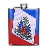 Presock Flachmann,Haiti Flag Cloth Fashion Portable Stainless Steel Hip Flask Whiskey Bottle for Men and Women 7 Oz