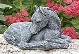 Statue en pierre cheval, petit format, gris ardoise, pierre recomposée