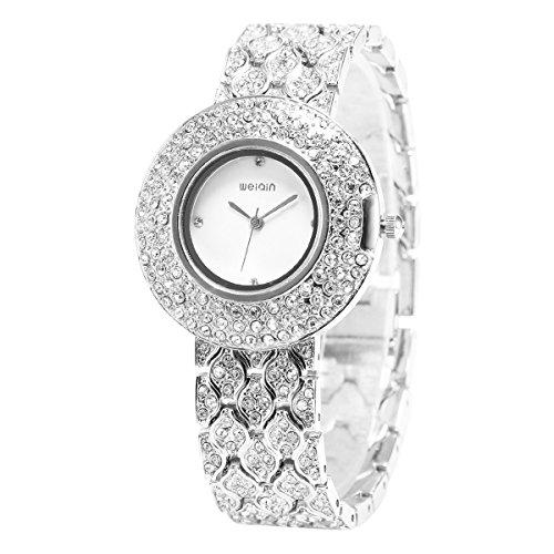 LEORX WEIQIN Damen Strass Decor Runde Zifferblatt Armband Armreif Quarz Armbanduhr (Silber)