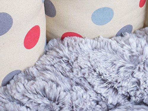 Petface Polka Dots Print Oval Dog Bed, Cream, Medium 5