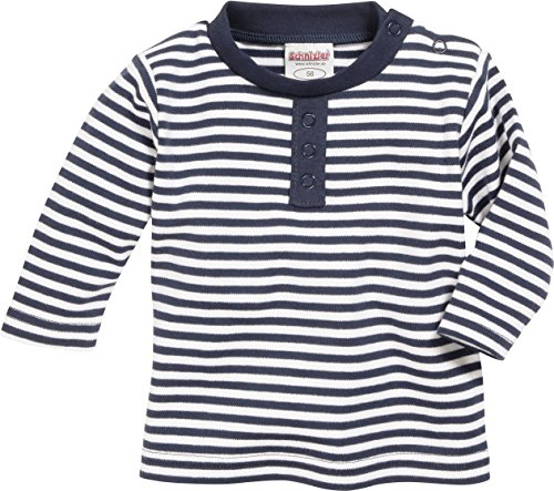 Schnizler Unisex Baby Sweatshirt Langarmshirt Marine geringelt, Oeko - Tex Standard 100, Gr. 56, Blau (marine/weiß 171)