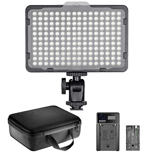 Neewer 176 LED Luz de Video Iluminación Kit: 176 Panel LED Regulable, con Batería de Li-Ion 2600mAh, Cargador de Batería USB y Estuche para Fotografía de Producto y Retrato
