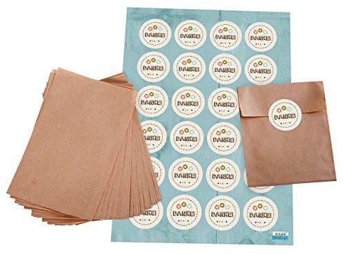 Pochettes cadeaux?: Set de 24 Marron plates Sacs Papier (10,5 x 15 cm) et Lot de 24 autocollants patch macaron brodeur (4 cm) pour dire merci - Style Vintage avec cœurs en beige, bleu, rouge