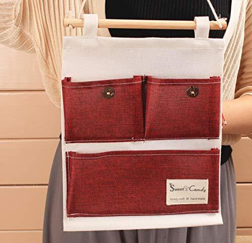 Sunnygod toy mesh organizer borsa a tracolla a due strati borsa a sospensione vino rosso 25x32cm