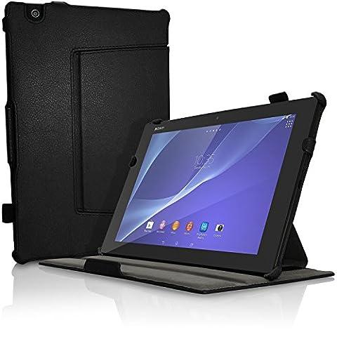 igadgitz Premium Schwarz PU Ledertasche Hülle Cover für Sony Xperia Z4 Tablet SGP712 SGP771 mit Multi-Winkel Betrachtungs + Auto Sleep Wake + Handschlaufe +