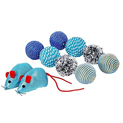 Blueberry Pet Toys For Cat Turquoise Colored Balls & Mice Cat Toy - 10-piece Pack