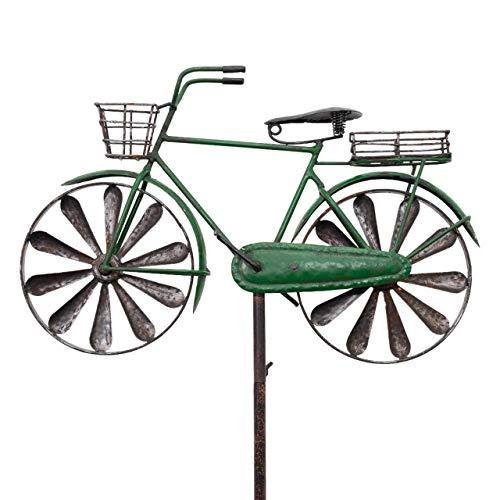 CIM Metall Gartenstecker mit Windrad - Bicycle City Bike - wetterfest - mit Antik-Effekt - Windräder: Ø16cm, Motiv: 38x9cm, Gesamthöhe: 130cm - attraktive Gartendekoration