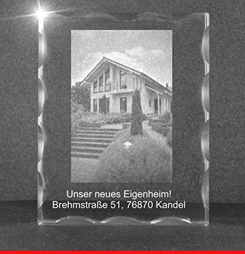 VIP-LASER 2D GRAVUR Glas Kristall Facettierte Scheibe im Hochformat XL mit dem Foto von Deinem Haus für die Ewigkeit mitten in Glas! Groesse XL = 100x80x20mm