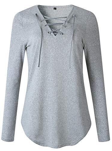 Langarm Tiefer V-Ausschnitt Riemchen Schnürung Vorne Abgerundeter Saum Baumwolle Sweatshirt Bluse Hemd T-Shirt Tee Oberteil Top Grau L