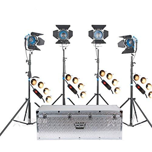 HWASTUDIO ® Kit (2x650W + 2x1000W) reflector de Fresnel de tungsteno luces Spots