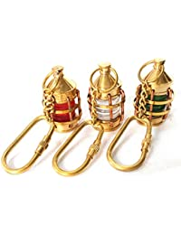 Artshai Set Of 3 Designer Lamp Keychain,Brass Handicraft Keyring Gift Set, Red Green And White Keychain