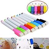 8 Couleurs Magnétiques Tableau Blanc Marqueurs Stylos avec Gomme + 1 Sticky Notes Book