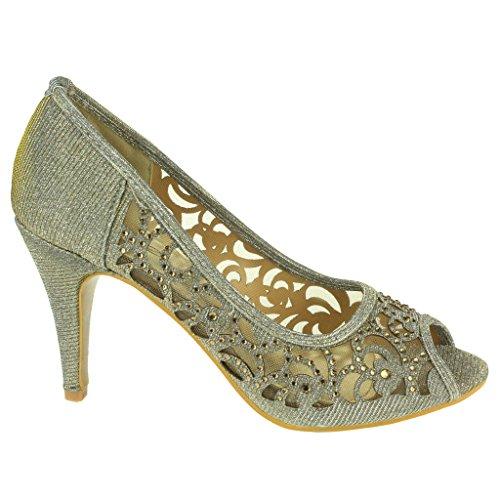 Aarz donne di sera del partito di promenade di nozze signore alto tacco peep toe Diamante sandalo calza il formato (Oro, Argento, Champagne, Nero, Marrone) Peltro