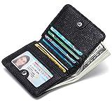 JEEBURYEE Kleine Geldbörse Damen Leder Geldbeutel RFID Schutz Portemonnaie Frauen Mini Klein Karten Portmonee Brieftasche Geldtasche mit Reißverschluss Münzfach und Druckknopf für Mädchen Schwarz