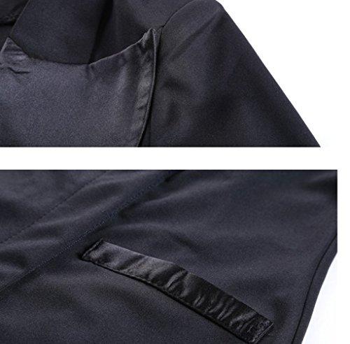 Ghope Manches Longue Elegant Peplum OL Business Robe Suit col Classique Tendance Mode jupe crayon Robe ,Noir/ Bleu ,XS - 4XL Noir