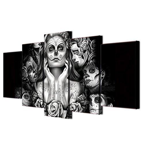 Halloween Tag der Toten Gesicht Totenkopf Frau abstrakte Malerei Schwarz und Weiß ART PRINTS für Wohnzimmer Art Wand Bild Geschenk Home Dekoration 5Stück Leinwand, gerahmt, bereit zum Aufhängen (177,8cm WX40