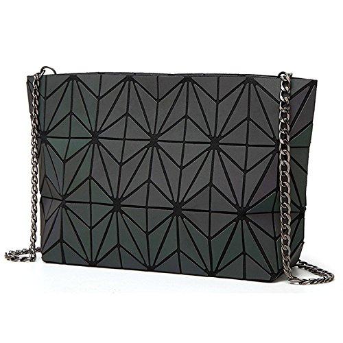 Damen Handtasche Frauen Umhängetasche Clutch Abendtasche Geometrische Ling Grid Leuchtende Farbwechsel Kreuz Körper Tasche (Leuchtende Small)