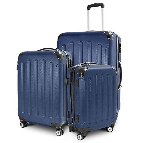 Kofferset 3-teilig Reisekoffer Trolley Hartschalenkoffer ABS Teleskopgriff (Royal Blau)