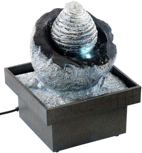infactory Raumbefeuchter-Brunnen: Zimmerbrunnen Wasserspiel mit Pumpe und LED, ca. 17 cm (Zimmerwasserbrunnen)