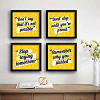 SAF Set of 4 Stop Saying Tomorrow Motivational UV Coated Home Decorative Gift Item Framed Painting 19 inch X 19 inch…