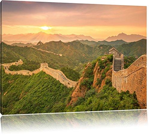 Chinesische Mauer, Format: 120x80 auf Leinwand, XXL riesige Bilder fertig gerahmt mit Keilrahmen, Kunstdruck auf Wandbild mit Rahmen, günstiger als Gemälde oder Ölbild, kein Poster oder Plakat