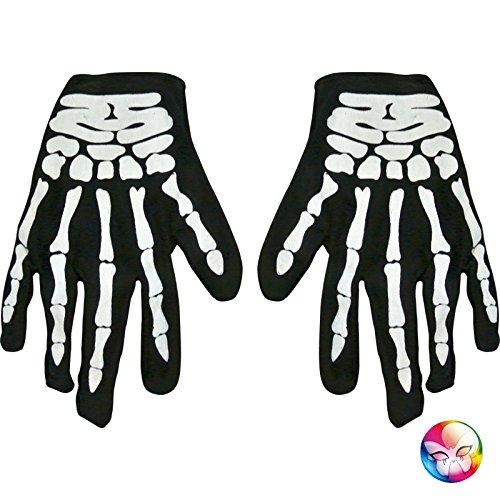 AEC - AC2275  - Gants de squelette tissu adulte imprimes 23 x 12 cm 3700638208362