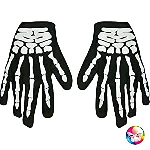 Unbekannt AEC-ac2275-Guantes, diseño de Esqueleto de impresión, plástico, Adultos, 23x 12cm