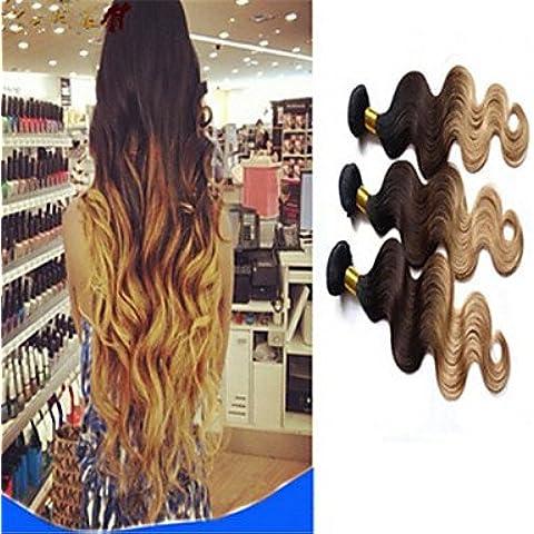 XQXHair Promozione 3Pcs / Lot Ombre brasiliana del corpo del Virgin dei capelli dell'onda Ombre Capelli estensioni dei capelli umani di trama tessuto Bundle 3 colori tono 1b # 4 # 27 # 300g / lot , 16 16 16