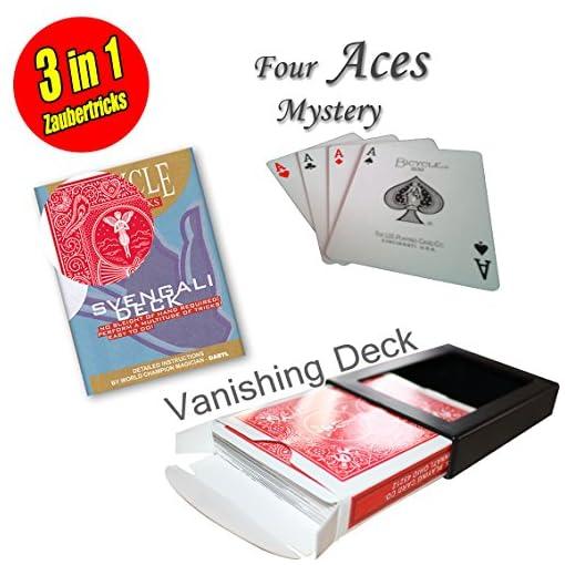 Its-Magic-Zauberkasten-fr-Anfnger-Bicycle-Svengali-Deck-Vanishing-Deck-Four-Aces-Mystery-Trick-inkl-deutschsprachiger-Anleitungen-Video-Instruktionen-als-Download