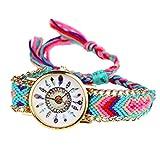 Fulltime Bracelet Tissé d'Amitié Femmes Montres à Quartz avec Motif de Plume - D