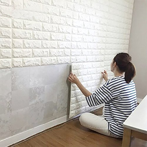 "3D Brick Wall Stickers Self-adhesive Panel Decal PE Wallpaper PE Foam Self Adhesive Brick Pattern Soft Pack TV Sofa Background Living Room Bedroom Home Decoration(27.5""x30.3"", White 5 sheets)"
