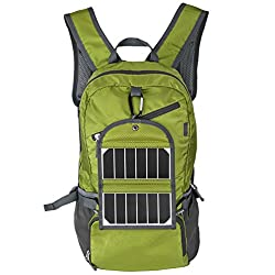 iRegro Solar Backpack with Rechargeable Battery, Outdoor Ultra-thin Mobile Bag with hoch Effizienz Solar Panel, 3.5W Solar Panel Bag with 2000 mAh Power Bank for Camping, Rock Climbing, Sport, Travel and Excursions (Green)