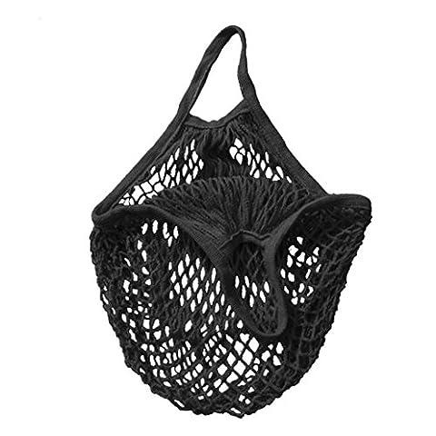 C'est Net Shopping Tote Ecology Market String Bag Reusable Fruit Storage Handbag (Short strap, Black)