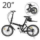 Ridgeyard Faltbares Fahrrad 20 Zoll 6-Gang Faltmaschine + LED Batterie Leuchte + Sitztasche + Fahrradglocke (Schwarz)